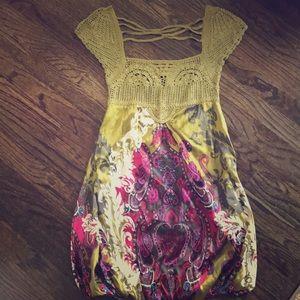bebe XS paisley print dress- crochet top